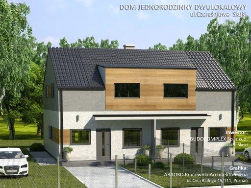 Dom Jednorodzinny Dwulokalowy Czereśniowa Skoki Koło Poznania Front Budynku
